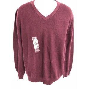 IZOD V-Neckline Sweater Maroon Men's Size XL New